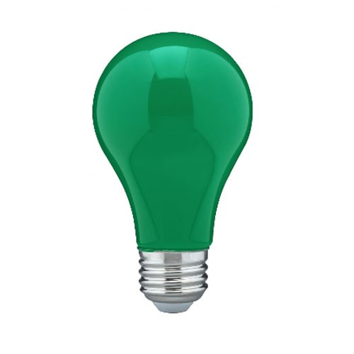 Satco S14986 - 8 Watt - A19 LED - Medium Base - 120V - Ceramic Green - Dimmable - 24 Packs