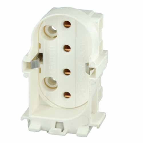 Leviton 23453 - 2G11 Base - 4-Pin - Twin Tube Fluorescent Lampholder - Snap-In - Straight-In Double Edge - White