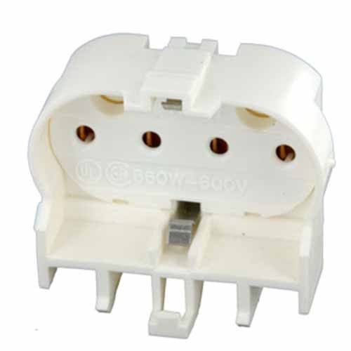 Leviton 23454 - 2G11 Base - 4-Pin - Twin Tube Fluorescent Lampholder - Snap-In - Straight-In Double Edge - White