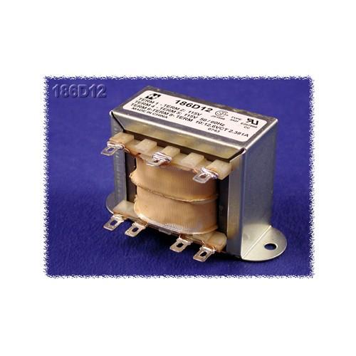 Hammond 186D12 - Power Transformer - Low Voltage Solder or Quick Connect Terminals - 115/230 VAC Dual Primary  50/60HZ - 31.5VA - 2.5 Amps
