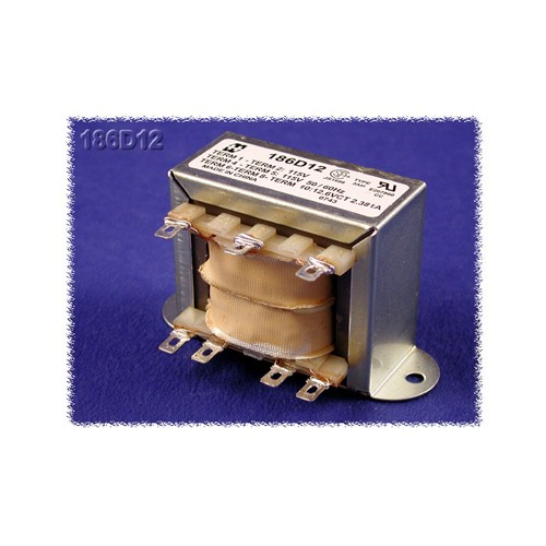 Hammond 186C24 - Power Transformer - Low Voltage Solder or Quick Connect Terminals - 115/230 VAC Dual Primary  50/60HZ - 12VA - 0.5 Amps