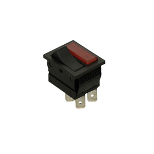 Techspan 35-621 - Lighted Appliance Rocker - SPST - ON-OFF - BLACK W/RED LENS