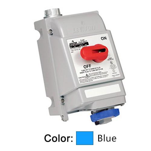 Leviton 520MI9W - Mechanical Interlock North American Pin & Sleeve Receptacle - 20 Amp - 120/208 Volt 3PY - 4P - 5W - Industrial Grade - Watertight - Non-Fused - BLUE