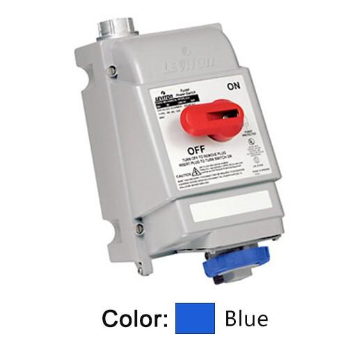 Leviton 530MI9W - Mechanical Interlock North American Pin & Sleeve Receptacle - 30 Amp - 120/208 Volt 3PY - 4P - 5W - Industrial Grade - IP67 - Watertight - Non-Fused - BLUE