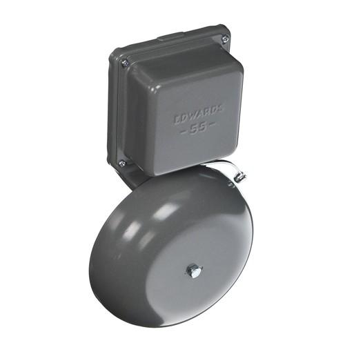 "Edwards 55-6G5 - 6"" Vibrating Bell - 74 db - Diecast Housing - 24 VDC - 0.20 Amps - Gray"