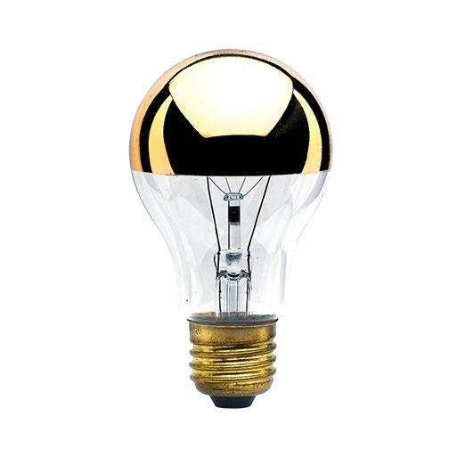 Bulbrite 712460 - 60W A19 Half Gold - 120V - Clear Half Gold - 60A19HG - 10 Packs