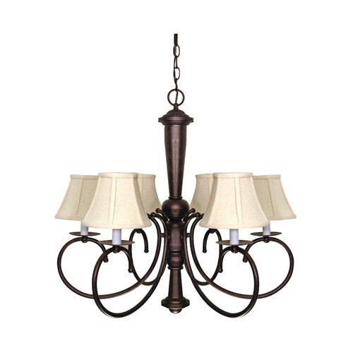 Satco 60-101 - 6-Light Chandelier Light Fixture - 60 Watts - Type B Bulb - Candelabra Base - Old Bronze Finish
