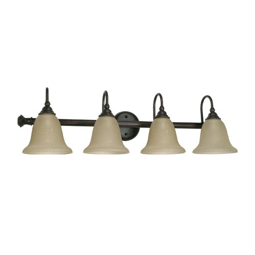 Satco 60-110 - 4 Light Wall Mounted Vanity Light Fixture - 100 Watts - A19 Bulb - Medium Base - Old Bronze Finish