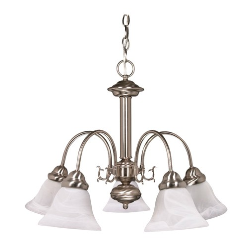 Satco 60-181 - 5-Light Chandelier Light Fixture - 60 Watts - A19 Bulb - Medium Base - Brushed Nickel Finish