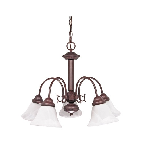 Satco 60-183 - 5-Light Chandelier Light Fixture - 60 Watts - A19 Bulb - Medium Base - Old Bronze Finish
