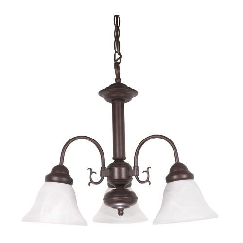 Satco 60-184 - 3-Light Chandelier Light Fixture - 60 Watts - A19 Bulb - Medium Base - Old Bronze Finish