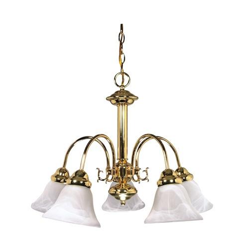 Satco 60-185 - 5-Light Chandelier Light Fixture - 60 Watts - A19 Bulb - Medium Base - Polished Brass Finish