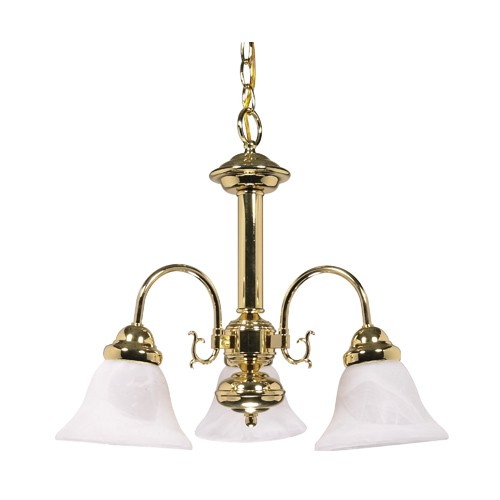 Satco 60-186 - 3-Light Chandelier Light Fixture - 60 Watts - A19 Bulb - Medium Base - Polished Brass Finish