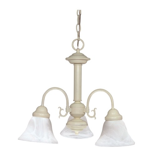 Satco 60-188 - 3-Light Chandelier Light Fixture - 60 Watts - A19 Bulb - Medium Base - Textured White Finish