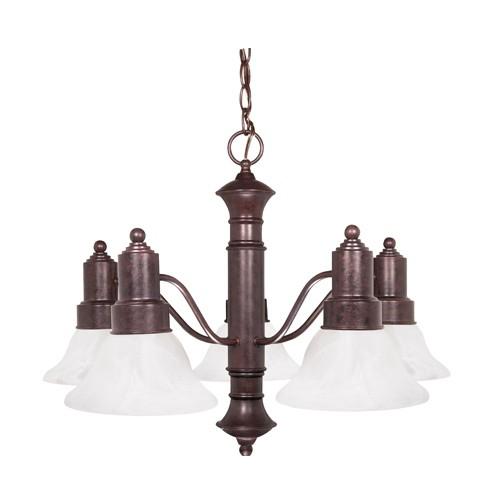 Satco 60-191 - 5-Light Chandelier Light Fixture - 60 Watts - A19 Bulb - Medium Base - Old Bronze Finish