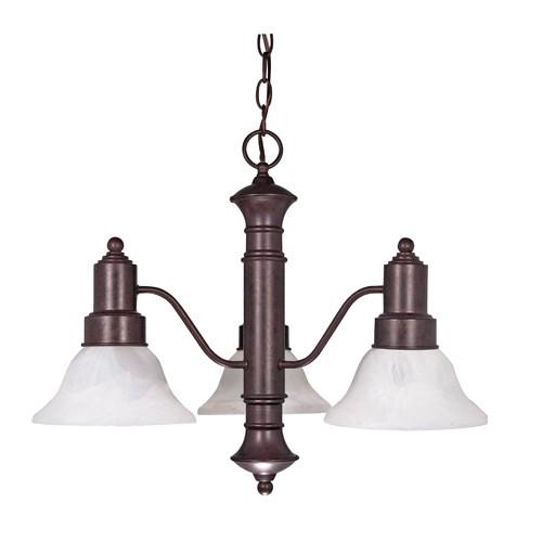 Satco 60-192 - 3-Light Chandelier Light Fixture - 60 Watts - A19 Bulb - Medium Base - Old Bronze Finish