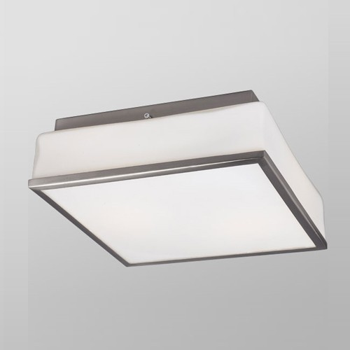 Galaxy Lighting 613500BN - 2-Light Flush Mount - Brushed Nickel - White Square Opal Glass