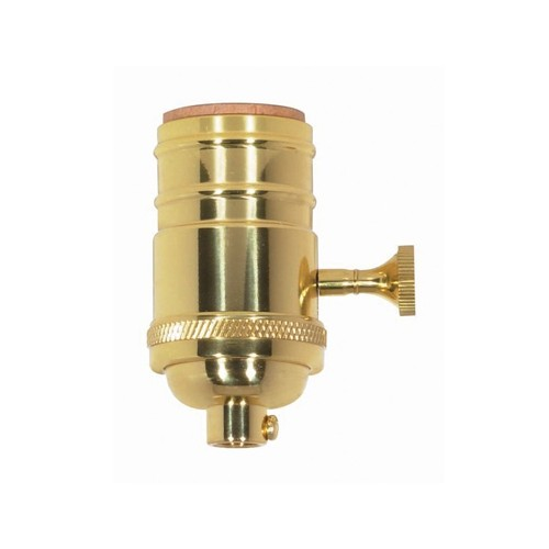 Satco 80-1058 - On-Off Turn Knob Socket W/Matching Finish Removable Knob - 1/8 IPS Cap - Polished Brass Finish