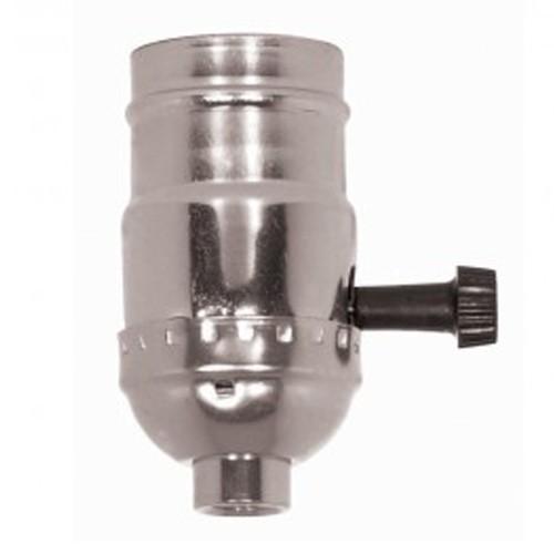 Satco 80-1101 - On-Off Turn Knob Socket W/Removable Knob - 250 Watts - 250 Volts - Nickel Finish