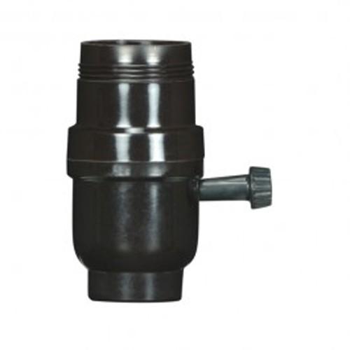Satco 80-1107 - 3 Terminal - 2 Circuit Turn Knob Socket with Metal Bushing - 250 Watts - 250 Volts - 1/8 IPS Cap - Less Set Screw