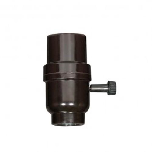 Satco 80-1109 - 3-Way Turn Knob Socket with Metal Bushing - 250 Watts - 250 Volts - 1/8 IPS Cap - Less Set Screw