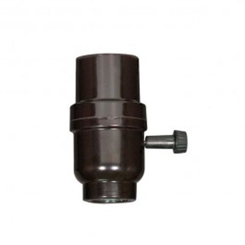 Satco 80-1112 - On-Off Turn Knob Socket with Metal Bushing - 250 Watts - 250 Volts - 1/8 IPS Cap - Less Set Screw