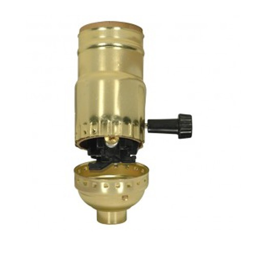 Satco 80-1118 - 3 Way (2 Circuit) Turn Knob Socket W/Removable Knob & Strain Relief W/Strain Relief Hooks - 250 Watts - 250 Volts - Brite Gilt Finish