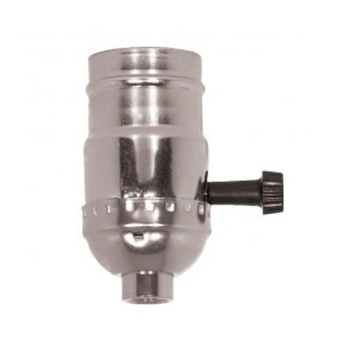 Satco 80-1119 - 3 Way (2 Circuit) Turn Knob Socket W/Removable Knob & Strain Relief W/Strain Relief Hooks - 250 Watts - 250 Volts - Nickel Finish