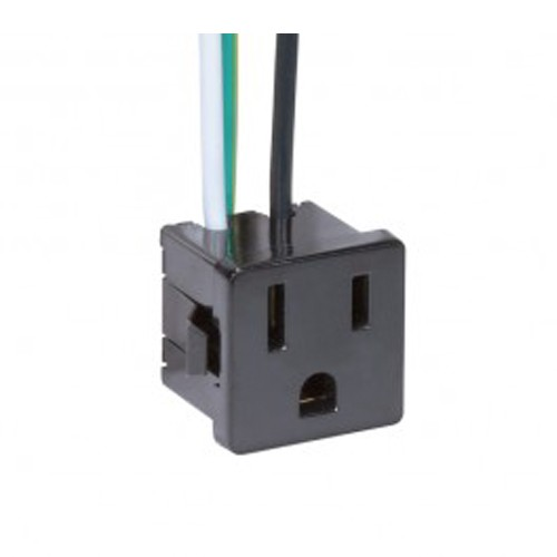 Satco 80-1142 - 3 Wire 2 Pole Snap-In Convenience Outlet - 15A-125V - Black Finish