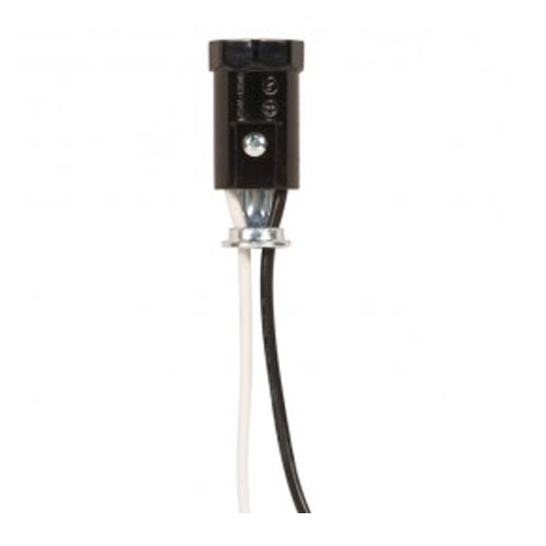 Satco 80-1145 - Phenolic Candelabra Socket with Leads  - 75 Watts - 250 Volts -  With Set Screw