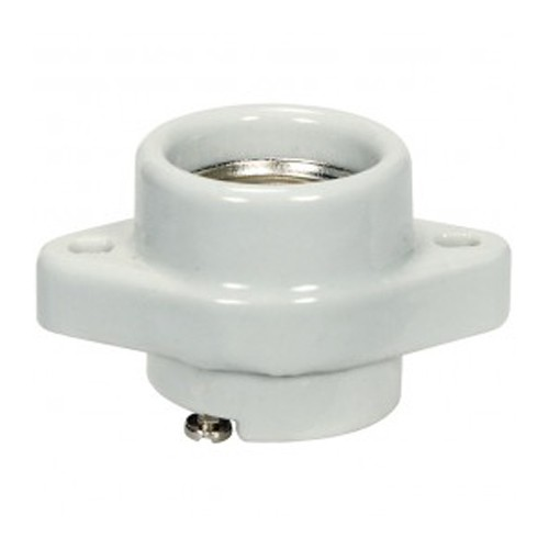 Satco 80-1149 - Keyless Porcelain One Piece Sign Socket with Flange/Bushing - 660 Watts - 250 Volts - CSSNP Screw Shell