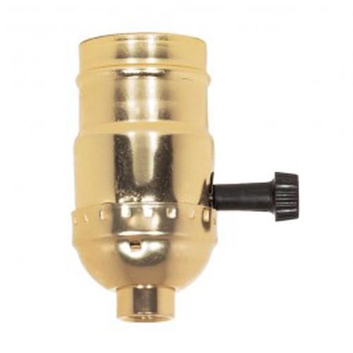 Satco 80-1158 - 3 Way (2 Circuit) Turn Knob Socket W/Removable Knob - 250 Watts - 250 Volts - Brite Gilt Finish