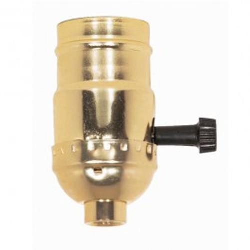 Satco 80-1159 - On-Off Turn Knob Socket W/Removable Knob - 250 Watts - 250 Volts - Brite Gilt Finish