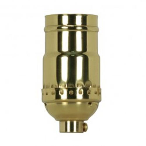 Satco 80-1175 - 3 Way (2 Circuit) Keyless Socket - 660 Watts - 250 Volts - 1/8 IPS Cap - Polished Brass Finish