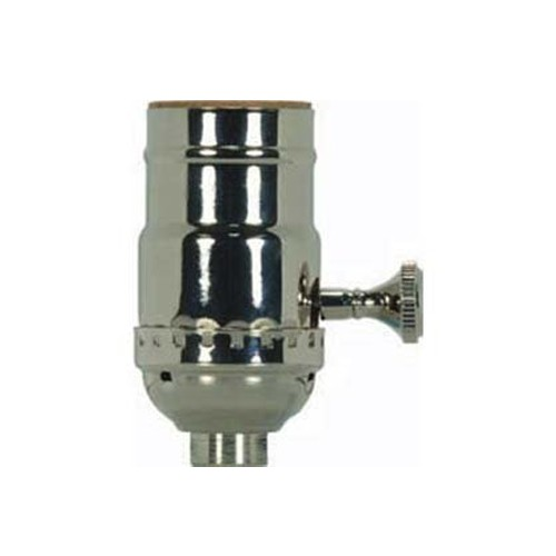 Satco 80-1180 - On-Off Turn Knob Socket w/Removable Knob - 250 Watts - 250 Volts - Polished Nickel Finish