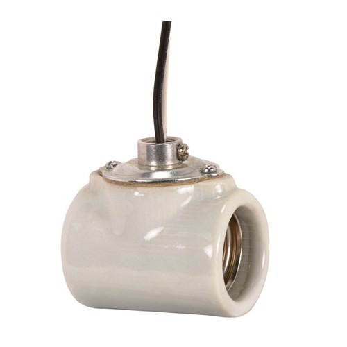 Satco 80-1314 - Twin Porcelain Socket w/Flange Bushing Cap - 660 Watts - 250 Volts - CSSNP Screw Shell - 1/8 IPS Hickey