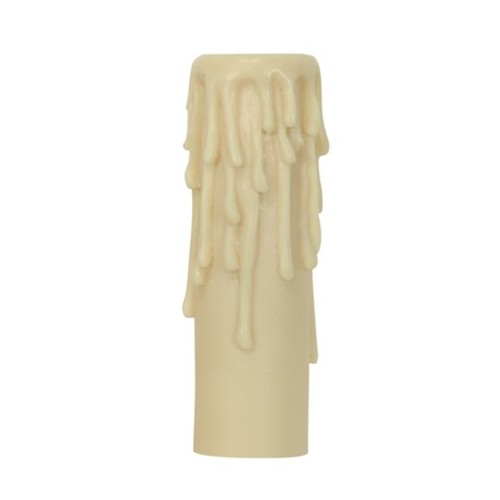 """Satco 80-1630 - Candle Cover with Ivory Half Drip Resin - Candelabra Base - 4"""" Height - 7/8"""" Inside Diameter - 1-5/32"""" Outside Diameter"""