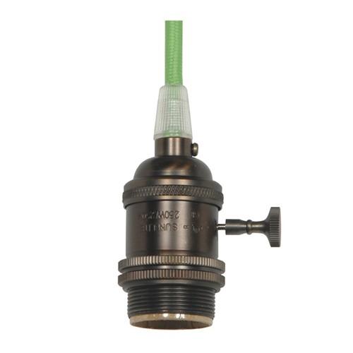 Satco 80-2433 - On/Off Turn Knob Medium Base Lampholder with 10ft. 18/2 SVT Light Green Cord - 250 Watts - 250 Volts - 1/8 IPS Cap - Dark Antique Brass Finish