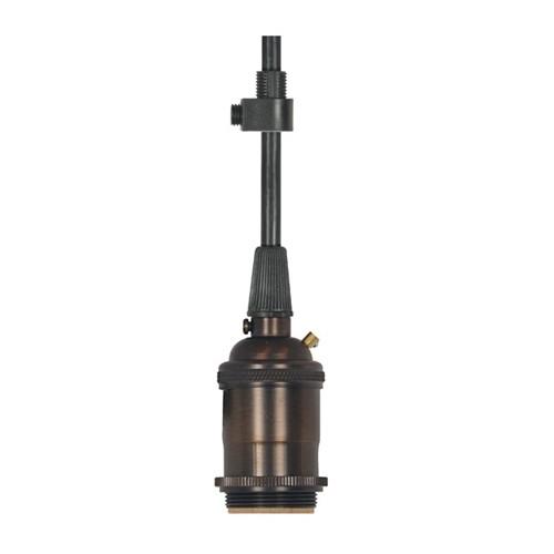 Satco 80-2576 - Keyless Medium Base Lampholder with 2 Uno Rings - 660 Watts - 250 Volts - 1/8 IPS Cap - With Set Screw - 10ft. 18/3 SVT Black Cord - Dark Antique Brass Finish