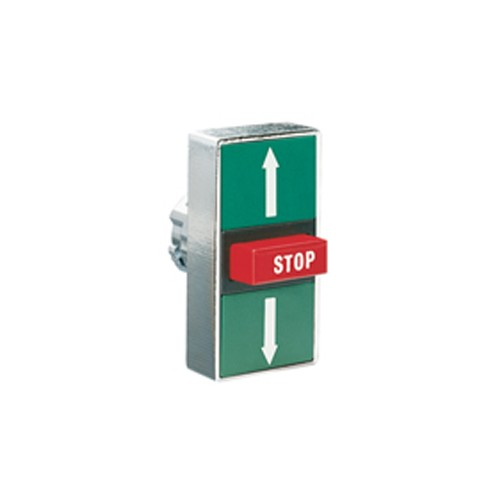 Lovato 8LM2TB7345 - TRIPLE-TOUCH ACTUATOR - SPRING RETURN - Ø22MM 8LM METAL SERIES - 2 EXTERNAL FLUSH OND 1 MIDDLE EXTENDED PUSH BUTTONS - SPRING RETURN - I - STOP - II