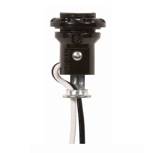 Satco 90-1557 - Phenolic Threaded Candelabra Socket With Lead/Ring - 75 Watts - 125 Volts