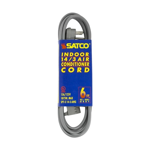Satco 93-5001 - 6 Foot 14/3 Ga. SPT-3 Air Conditioner/Appliance Cord With Sleeve - 15A-125V - 1875W - Gray Finish
