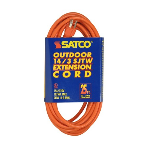Satco 93-5008 - 25 Foot 14/3 Ga. SJTW-3 Outdoor Extension Cord With Sleeve - 15A-125V - 1875W - Orange Finish