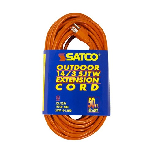 Satco 93-5009 - 50 Foot 14/3 Ga. SJTW-3 Outdoor Extension Cord With Sleeve - 15A-125V - 1875W - Orange Finish