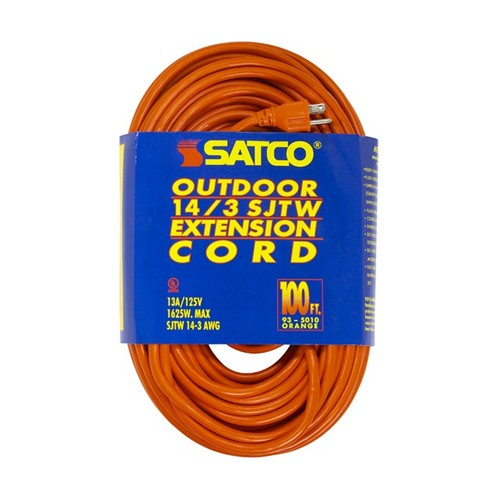 Satco 93-5010 - 100 Foot 14/3 Ga. SJTW-3 Outdoor Extension Cord With Sleeve - 15A-125V - 1875W - Orange Finish