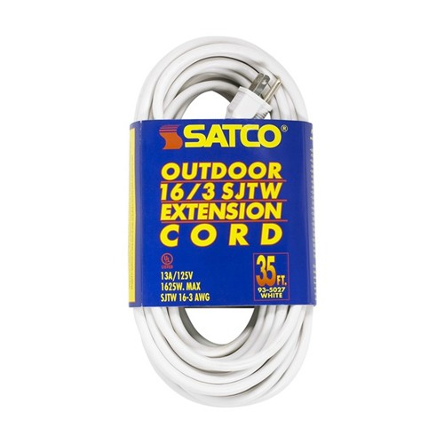 Satco 93-5027 - 35 Foot 16/3 Ga. SJTW-3 Outdoor Extension Cord With Sleeve - 13A-125V - 1625W - White Finish