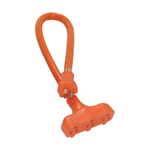 Satco 93-5030 - 2 Foot 12/3 Ga. STW 3 Outlet Outdoor Extension Cord - 15A-125V - 1875W - Orange Finish