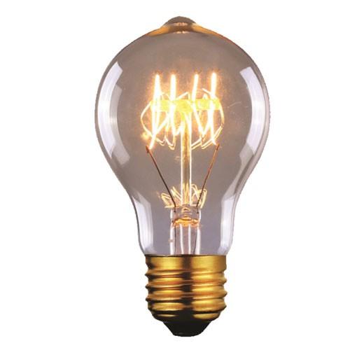 60 Watt - Vintage Bulb - A60 Decorative Edison Bulb - 4.14 Inch Length - Medium E26 Base - 4 Loop Hand Wound Tungsten Filament - Multiple Support - Clear