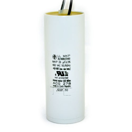ACG278 - Internal Resistor Dry Film Capacitor with Leads - 26uF - 400VAC -  for Metal Halide Pulse Start 400W - ANSI M135 / M155 Ballast