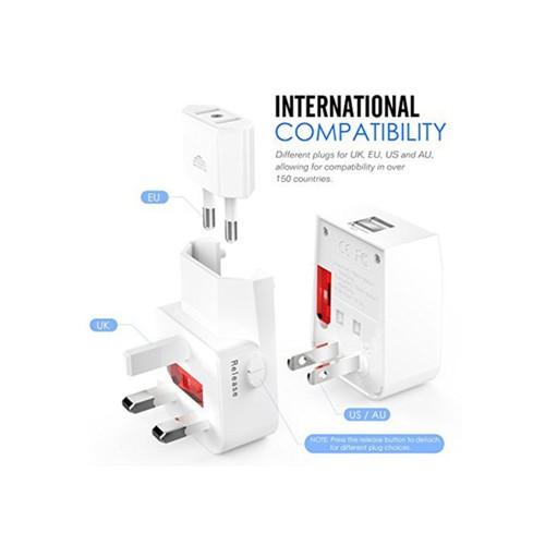 AC Plug Converter Adapter, World Travel Adaptor, with 2 USB ports